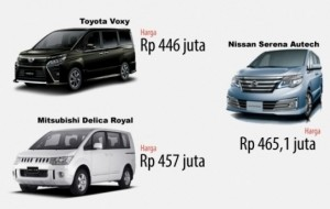 Mobil Pengantin Rp 500 Juta, Toyota Voxy 2017, Nissan Serena atau Mitsubishi Delica?